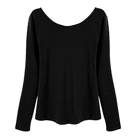 Damen Rückenfrei Oberteil - Deep V Zurück Rückenfrei Damen Lose Pullover Frauen Spitzenband Ausgeschnittenes Top Beiläufig Shirts Täglich Tshirt Hoodie Hemd Grau schwarz Leopard S-XL (Zurück Pullover)