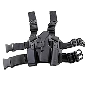 H World EU Tactical Right Leg Thigh Holster w/ Magazine Torch Pouch Glock 17 19 22 23 31 32 (Black)