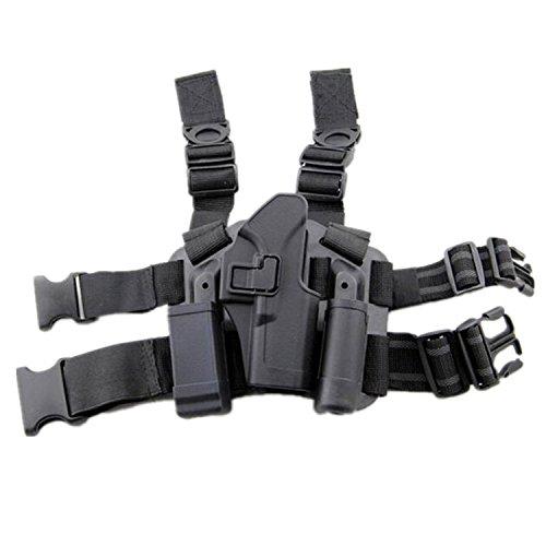 H Welt EU Taktik Rechts Bein Oberschenkel Holster mit Magazin Taschenlampe Glock 17 19 22 23 31 32 (Schwarz) Glock 23 Magazin-holster