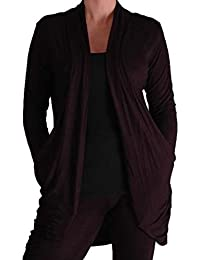 EyeCatchClothing - Gina Slouchy Casual Jersey Cardigan with Pockets