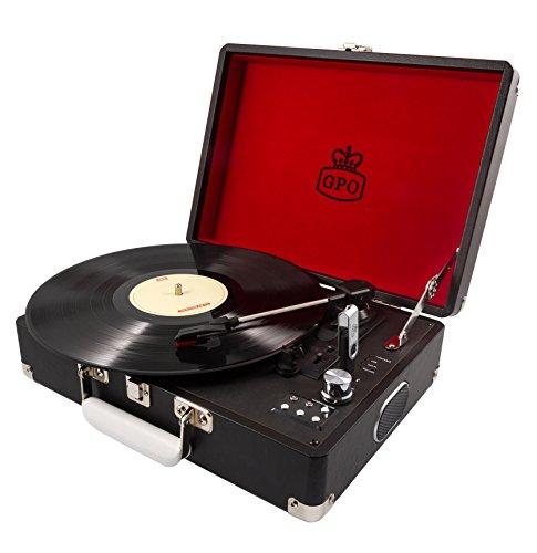 GPO Attache Plattenspieler im Aktenkoffer-Stil mit Vinyl Plattenspieler und eingebauten Lautsprechern, Schwarz