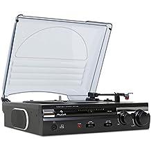 auna TT-182B • Plattenspieler • Schallplattenspieler • Riemenantrieb • Stereo-Lautsprecher • USB-Anschluss zum Digitalisieren • MP3-Aufnahme • Software für PC/MAC • AUX-IN • Line-Out • Auto-Start • 33/45 U/min. • Kopfhörerausgang • Pitch • schwarz