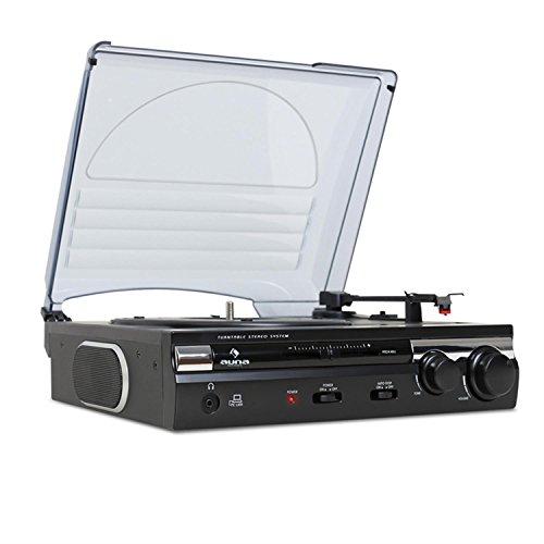 auna TT-182B - Plattenspieler, Schallplattenspieler, Stereo-Lautsprecher, USB, AUX-IN, Line-Out, 2 Geschwindigkeiten, 33, 45 U min. Pitch, schwarz