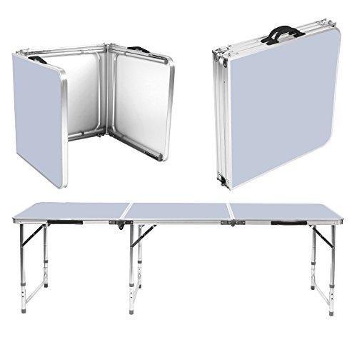 Homfa mesa para acampada plegable port til 180 60 55cm for Mesa de camping plegable con sillas