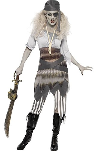 Outfit Piraten Kostüm Sexy - Fancy Me Geisterschiff Sweetie Zombie Piraten Damen Kostüm Sexy Halloween Outfit UK 8-18 - grau, 16-18