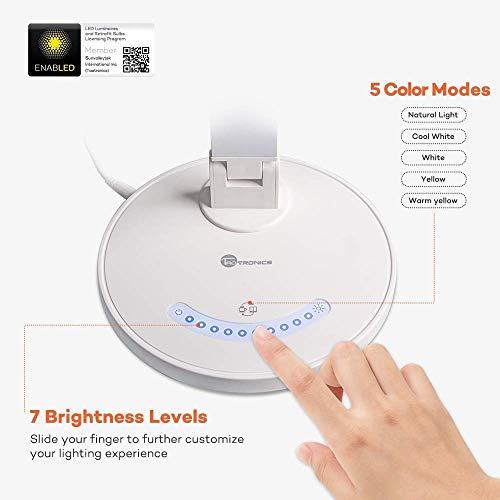 Schreibtischlampe LED TaoTronics Tischleuchte 5 Farb- und 7 Helligkeitsstufen dimmbar Touchfeldbedienung USB-Anschluss für Aufladung des Smartphones Weiß