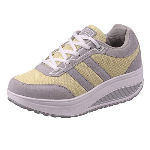 Abvenc Scarpe da Ginnastica Corsa in Mesh Donna, Sneakers da Sportive con Suola Spessa Fitness Running Leggero per All'aperto (Giallo, EU:35.5)