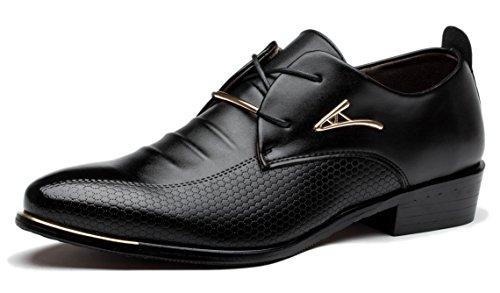 Anlarach Gli Uomini Di Affari Del Vestito Da Sposa Da Ufficio In Pelle Della Punta Aguzza Shoes Oxford Nero 41 EU