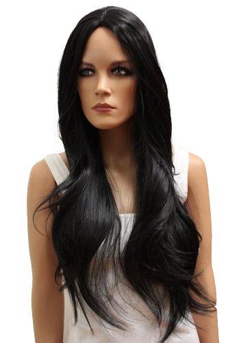 Wig schwarz Langhaar ca 75cm glatt aus Hitzebeständiger Kunstfaser wie Echthaar WLR10 ()