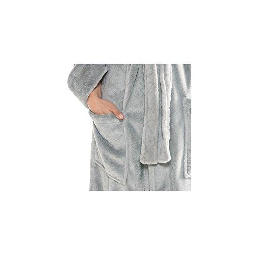 Accappatoio Donna Uomo CelinaTex con sciarpa colletto DOMANI cappotto Coral-in pile morbido, soffice e comodo, Nevada 2 colori, Microfibra, blau mit mittel blau, XXXL Grau Mit Creme Weiß