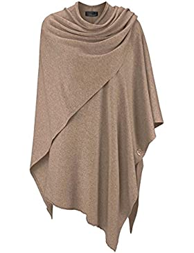 Zwillingsherz para Mujer Poncho de Cachemir One Size beige oscuro