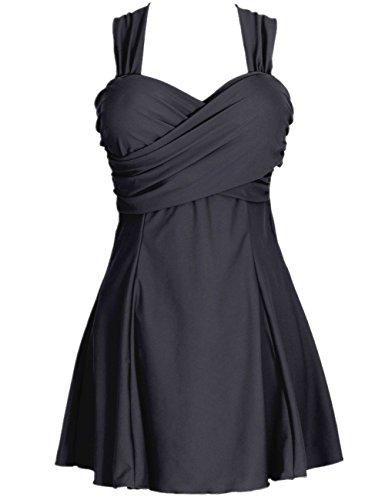 Aidonger Plus Size Damen Badeanzug Optimizer Flacher Bauch Badebekleidung mit Röckchen Badekleid viele (Badeanzug Kleid)