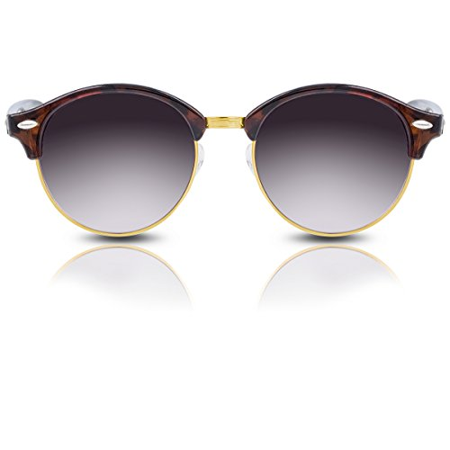 Sonnenbrille Browline im trendigen Retro Vintage Design für Herren Damen Unisex mit markantem Halbrahmen (Leopard Gold - Lila Gläser)