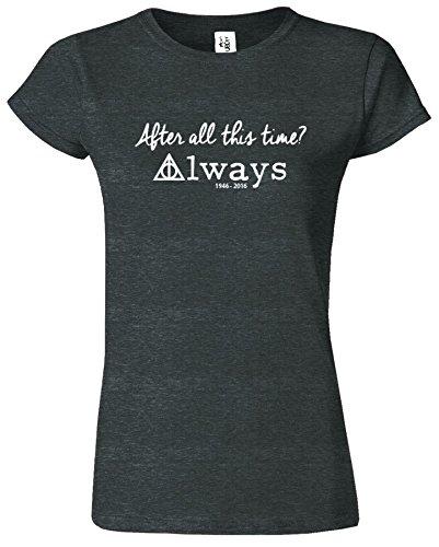 Harry Potter-Frauen-T-Shirt Deathly Hallows Crewneck Top Tee Dunkelgrau Meliert / Weiß Design