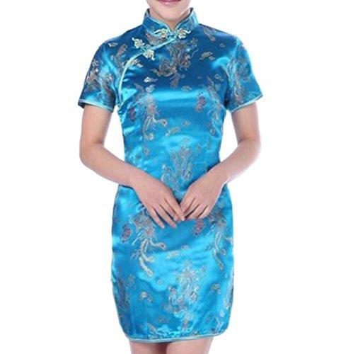 hibote Damen Partykleid Qipao China Cheongsam Kleid Chinesisch Abendkleid Lakeblue