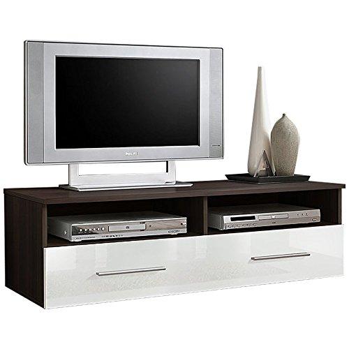 JUSTyou Berne Meuble TV Lowboard (HxLxl): 35x120x45 cm Wengé/Mat Blanc Brillant