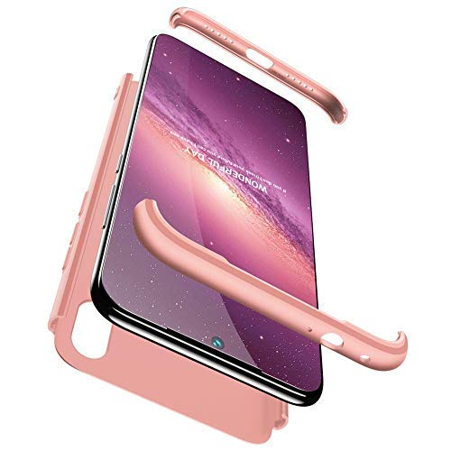 Compatible Xiaomi Redmi Note 7 Funda(2018)Carcasa 360° ultra fina Protectora cojín+Vidrio Templado Pantalla Protector,3 in 1 PC Hard Caja Caso Skin Case Cover Carcasa parai Redmi Note 7 Oro Rosa