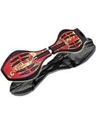 MAXOFIT  Pro XL - Waveboard con luces en las ruedas y funda (hasta 95 kg, 88 x 23 x 30 cm), multicolor hot pepper red