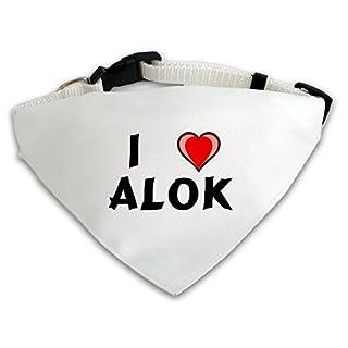 Dog Bandana with I love Alok (first name/surname/nickname)