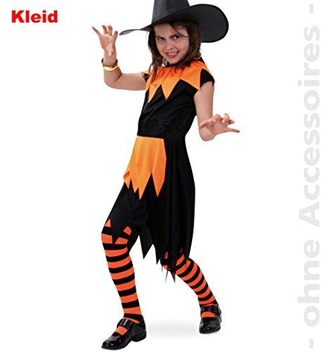 en Kleid 152 schwarz/orange Mädchen Teenie Kostüm ()