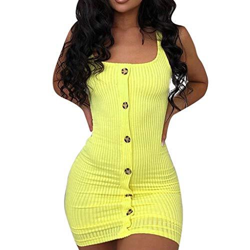 Rock-Verkauf Kleid Damen Sommer Elegant Sling Party Dress Cocktail Mode Frauen O Ausschnitt Eine Reihe Von KnöPfen ÄRmelloses Figurbetontes Minikleid Gelb M