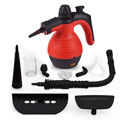 Hand Dampfreiniger Handgerät, Tragbare Mehrzweck-Dampfreiniger mit 9 Zubehörteilen zum Entfernen von Flecken auf Teppichen, Autositzen, Küchenvorhängen, Kammern, Böden, Bädern und mehr