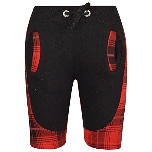 A2Z 4 Kids® Kinder Kurze Hose Mädchen Jungen Designer Tartan Rot Camouflage - Shorts Contrast Panel Tartan Red_9-10