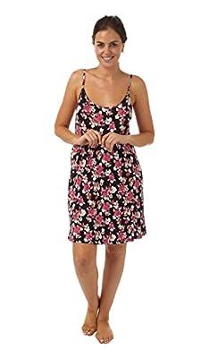 Ladies Short Viscose Chemise Floral Pink on Black Size 8/10, 12/14, 16/18, 20/22