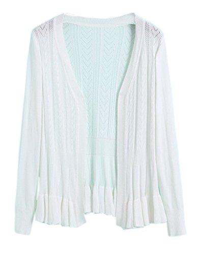 Smile YKK Femme Cardigan Tricot Manteau Pull Blouson Uni Pour Printemps Automne Blanc