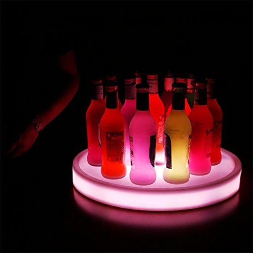 xinye LED Tablett rund Wasserdicht Kunststoff 16wechselnden Farben wiederaufladbar Wein Display Ständer für Bar und Party