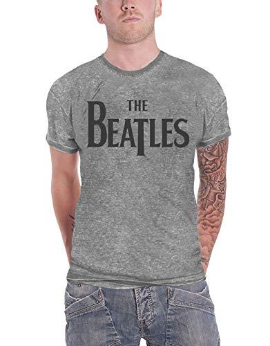 The Beatles T Shirt Unisex Grau Drop T band Logo Nue offiziell slim fit Burnout -