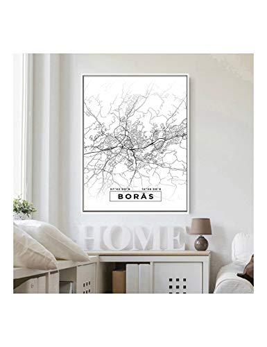Poster Und Drucke Karte Wandkunst Leinwand Leinwand Weiß Worldmap Malerei Bild Für Wohnzimmer Dekor , 40X60Cm Kein Rahmen ()