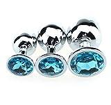 BONDAGERIE® Plùg con gioiello Azzurro, in acciaio, varie misure