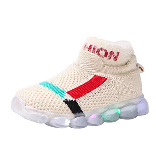 HDUFGJ Sneaker Schuhe Kinder Fliegendes Weben Warm Laufschuhe Mädchen Jungen Led Licht Leuchtende Hohe Hilfe Socken Schuhe Beleuchtete Schuhe26 EU(Weiß)