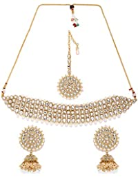 Zaveri Pearls Embellished With Kundan & Pearls Necklace Set For Women-ZPFK8807