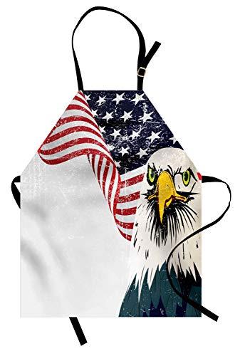 Abakuhaus Amerikanische Flagge Kochschürze, American Eagle mit Grunge-Effekt 4. von Juli Usa Country Independence Image, Farbfest Höhenverstellbar Waschbar Klarer Digitaldruck, Mehrfarbig