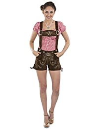 Schöneberger Trachten Damen Lederhose Almglück kurz - Hotpants Trachtenlederhose braun