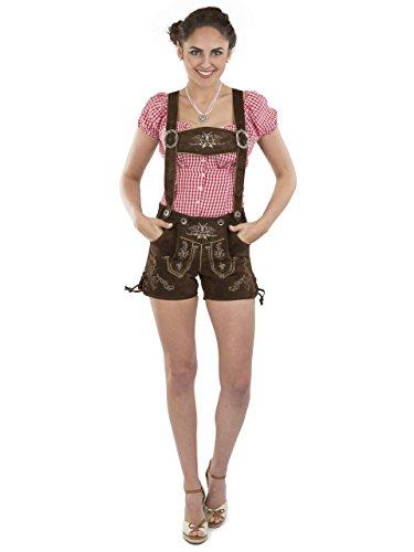 Lederhose Almglück kurz - Schöneberger Trachten Damen Hotpants Trachtenlederhose Dirndl Alternative braun (44, braun)