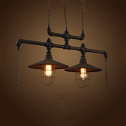 Barn Iron Craft Water Pipes Chandelier High Brightness E27 Light Source European-Style Retro Industrial Water Pipe Restaurant Chandeliers Height: 128CM 110 - 240 Volts