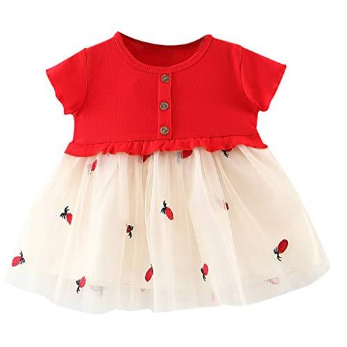 UFODB Kleider Mädchen, Kinder Patchwork Kleid Blumenspitze Party A-Linie Prinzessin Rüschen Partykleid Spitzenkleid ärmellos Crewneck Sommerkleid Minikleid (0-2 Jahre ()