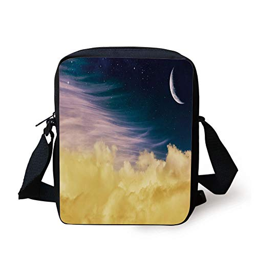 Surrealistic,Dreamy Night Sky with Crescent Moon Stars Galaxy Universe Print Decorative,Light Blue Lilac Yellow Print Kids Crossbody Messenger Bag Purse
