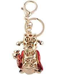 MagiDeal Fashion Rhinestone Crystal God Of Wealth Charm Purse Bag Key Ring Keychain Keyfob