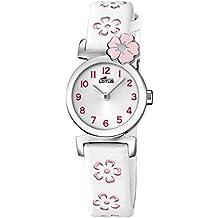 Lotus 18174/2 - Reloj de niña de cuarzo, correa blanca y rosa. Ideal Comunión.