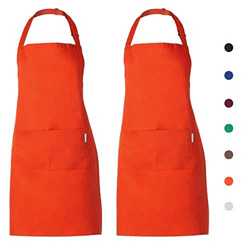 esonmus 2PCS/Set Adulti Poliestere Cucina Grembiule Ristorante Barbecue con Cintura Regolabile Collo 2 Tasche per Cucinare Cottura Giardinaggio per