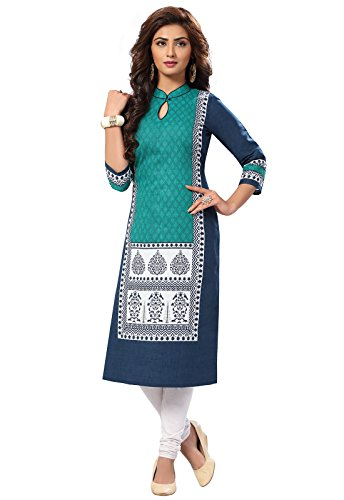 Ishin Cambric Cotton Blue Printed Party Wear Wedding Wear Casual Daily Wear...