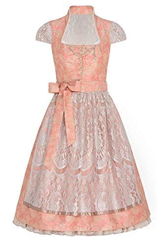 Tramontana Midi Dirndl 65er apricot Taupe mit Petticoat Patrizia 006276, glamouröses Dirndl, extravaganter Rückenausschnitt, Rock mit abnehmbarem Petticoat, abnehmbares Charivari 44