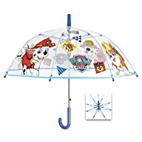 POS Handels GmbH 76302 Perletti Umb. Boy 45/8 AUT. Dome Shape Poe Transparent with Printed Paw Patrol Safety Open Windproof, Multicolour (Bunt), 60 Centimeters