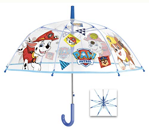 POS Handels GmbH Stockschirm mit Paw Patrol Motiv, Regenschirm für Kinder, automatische Öffnung und Fiberglasgestell Paraguas clásico, 60 cm, (Bunt)
