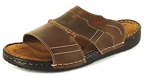 New Mens/Gents Brown Barrier Island Leather Upper Mule Sandals - Brown - UK SIZE 9