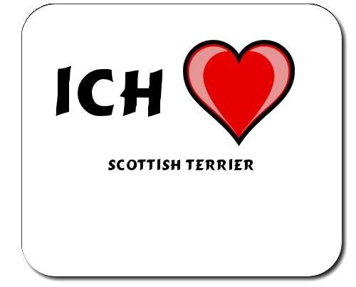 Mauspad mit Aufschrift Ich liebe Scottish Terrier (Hunderasse) -